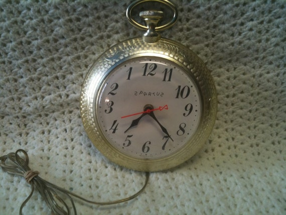 Vintage Spartus Wall Clock Electric Looks Like A Pocket Watch
