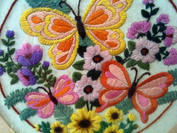 Vintage Framed Crewel Needlepoint Art Butterflies and Flowers Colorful and Pretty stitchery