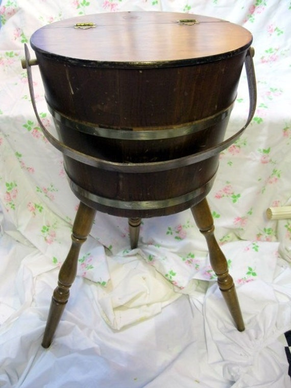 Vintage Sewing Bucket Barrel Basket On 3 Legs Wooden With