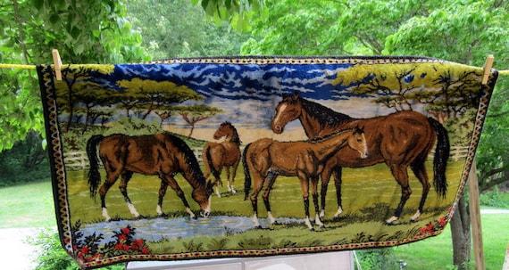 Vintage Tapestry Type Horses Wall Hanging By Auntsisterspicks