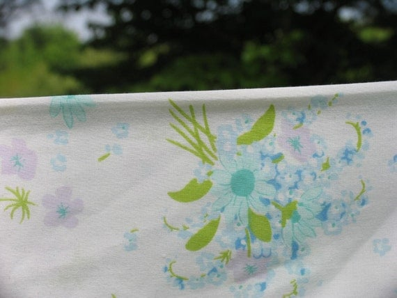 Vintage Pillowcase Standard Pillowcase Blue and purple flowers floral pillowcase Daisy flowers and more