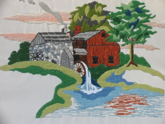 Art Needlepoint Art Barn and Water Wheel Mill beside a stream Ready to Frame