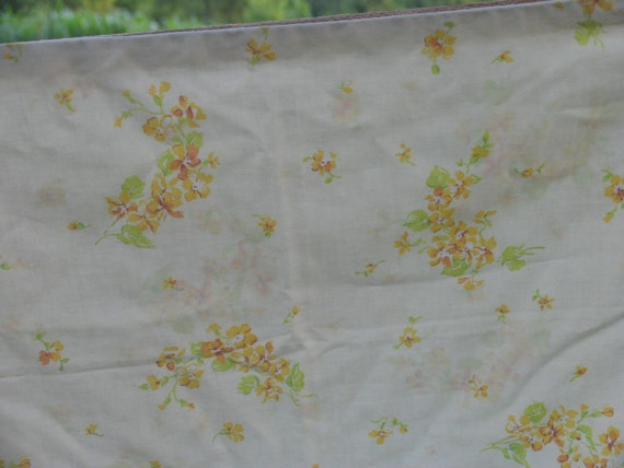 Vintage pillowcase standard pillowcase pale yellow with yellow and orange flowers floral pillowcase