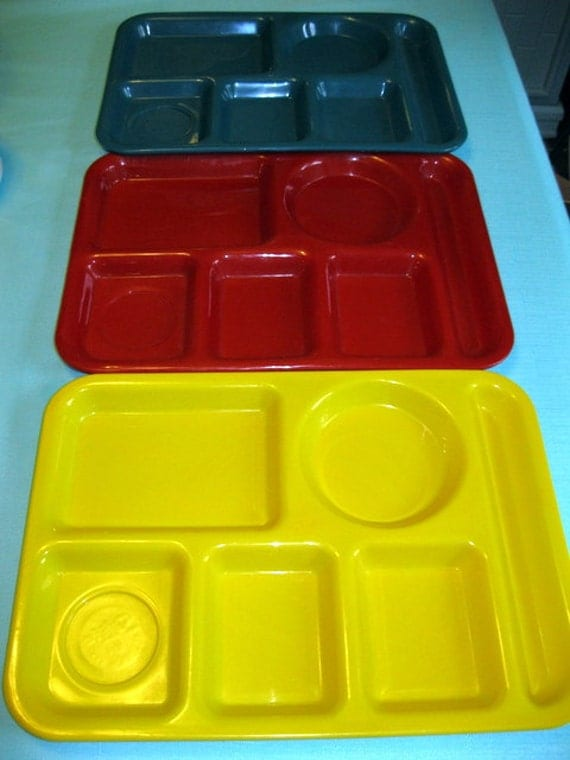 Bright and Colorful SiLite Food Cafeteria Trays Vintage Yellow Red Green