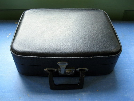 Small Vintage Black Overnight Suitcase Let's go to Grandmas