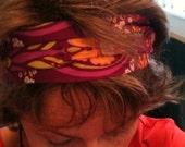 Cotton headband in purple and orange