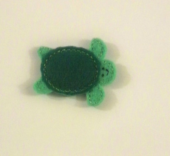 Machine Embroidered Hand made (4) Felt Turtle Embellishments / appliques