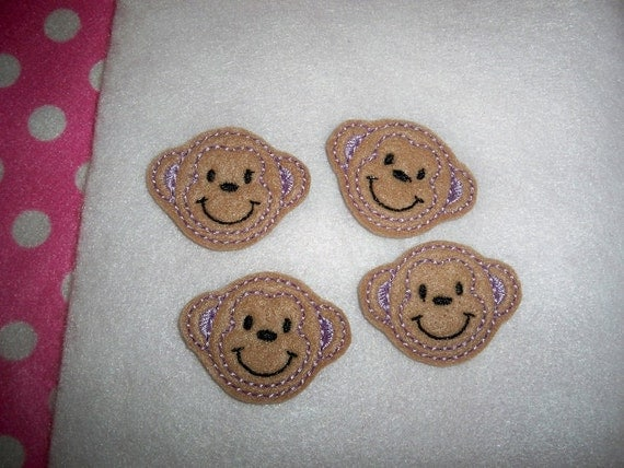 Ready to Ship) Machine Embroidered Hand made (4) Felt Monkey Embellishments / appliques