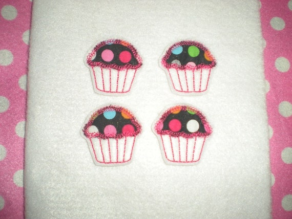 Ready to Ship) Machine Embroidered Hand made (4) Felt Cupcake Embellishments / appliques