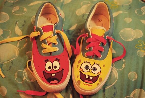 Hand-painted Spongebob Squarepants and Patrick Star lo-top shoes