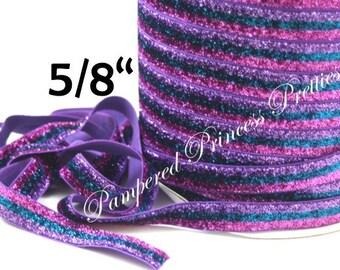 """5yd-Glitter élastique-lavande/Turquoise/rose à rayures-5/8 """""""