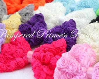 "Rose/Mesh Bows-Set of 9-You Choose Colors-5"""