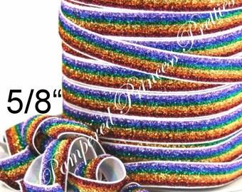 """5yd-Glitter Elastic-Rainbow Striped-5/8"""""""