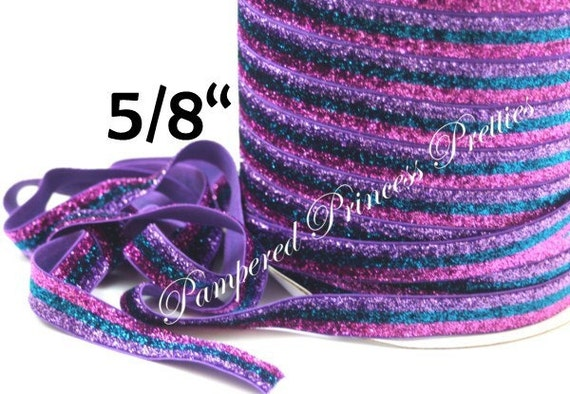 """5yd-Glitter Elastic-Lavender/Turquoise/Pink Striped-5/8"""""""