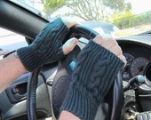 Clearance / Half Price / Indigo Cable Fingerless Driving Gloves - Ready to Ship