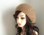 Golden Mohair Knitted Slouchy Hat, Cowl - Ready to Ship