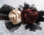Silk Roses Lace Headband - Size from Newborn - Adults