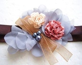 Ribbon Flower Beaded Stretchy Headband - Size from Newborn - Adults