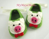 Little Piggy Crochet Baby Booties - Size from 0-12mos