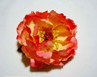 Beautiful Orange Silk Peony Hair Clip - 3inches - Ready to Ship