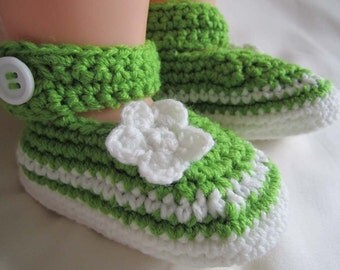 Pure Green White Baby Booties - 9-12 mos - Ready to Ship