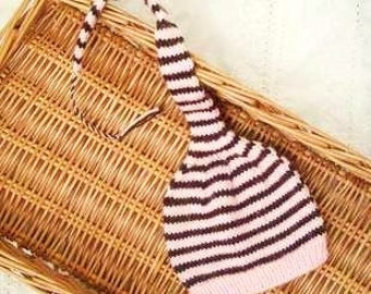 Pink and Brown Stripes Baby Hat - 0-3mos