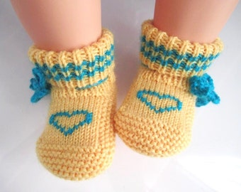 Heart Yellow Wool Baby Booties, Socks - Size from 0-12mos
