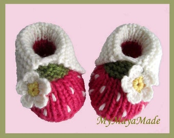 White Daisy Hot Pink Wool Baby Girl Booties - Size from 0-12mos - Ready to Ship