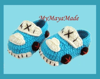 Little Taxi Driver Baby Booties - Size from 0-12mos