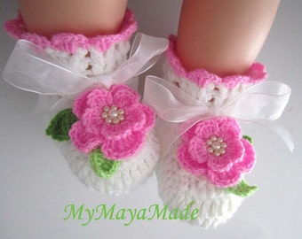 Pink Rose Crochet Baby Girl Booties - Size from 0-12mos - Ready to Ship