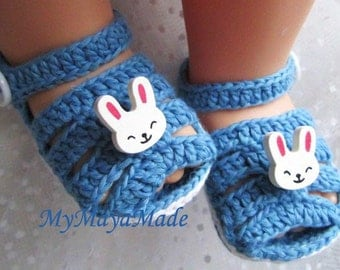 Little Rabbits Blue Cotton Baby Sandals - Size from 0-12 mos