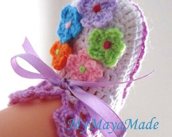 Colorful Daisy Garden Crochet Baby Booties - 4 sizes