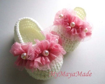Pink Wave Beaded Crochet Baby Booties - Size From 0-12mos