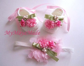 Pink Flowery Beaded Crochet Baby Booties and Headband Set - Size From 0-12mos