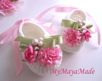 Pink Flowery Beaded Crochet Baby Booties - Size From 0-12mos