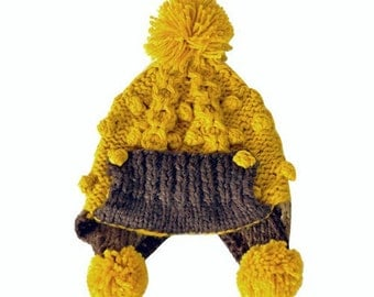 Clearance / Half Price / Gamboge Pom Pom Dotted Earflap Knited Hat - Ready to Ship