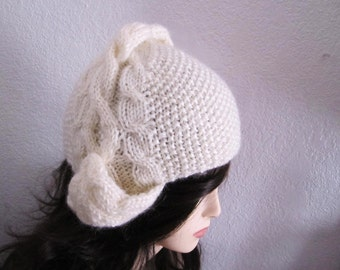Cream Wool-Mohair Cabled Earflap Hat - Ready to Ship