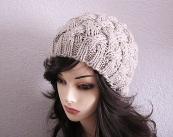 Almond Wool Cabled Knitted Hat - Ready to Ship