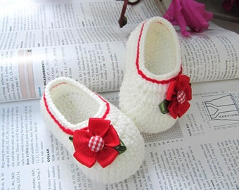 Red Flower Crochet Baby Booties - 4 Sizes - 0-3mo, 3-6mo, 6-9mo, 9-12mo - Please Specify Size Upon Purchase