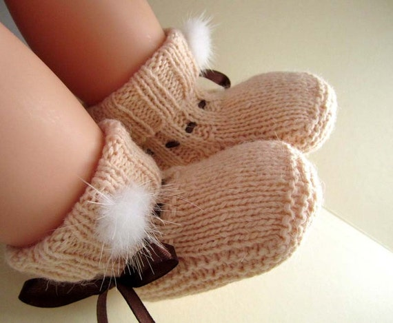 Champagne Wool Baby Booties, Socks - Size from 0-12mos