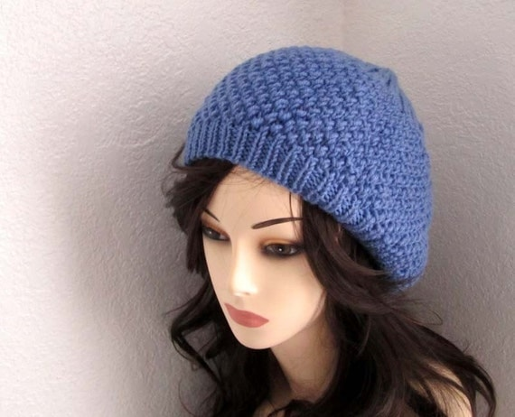Blue Wool Knitted Hat - Ready To Ship