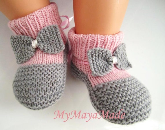 Pink and Gray Bow Baby Booties, Socks - Size from 0-12mos