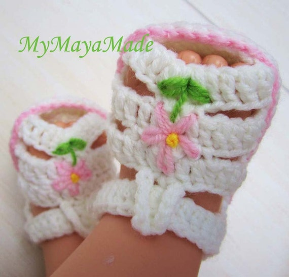 Pink Flower Crochet Baby Sandals - Size from 0-12 mos