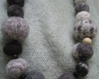 Knitted felt ball necklace-Black grey & white alpaca