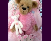 Pajama teddy bear with bunny slippers artist pattern PDF Erika