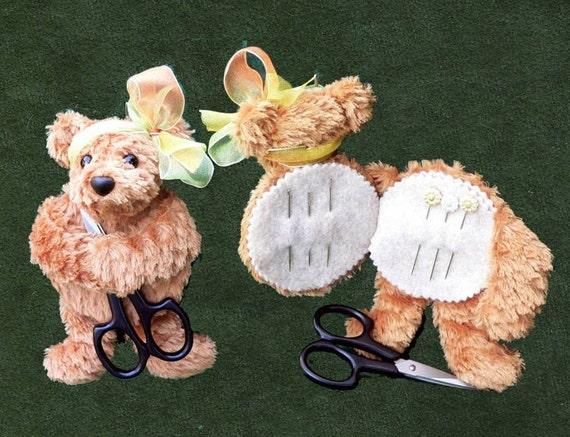 Teddy Bear Needle Keeper Pin Cushion PDF Sewing Pattern - Kuki