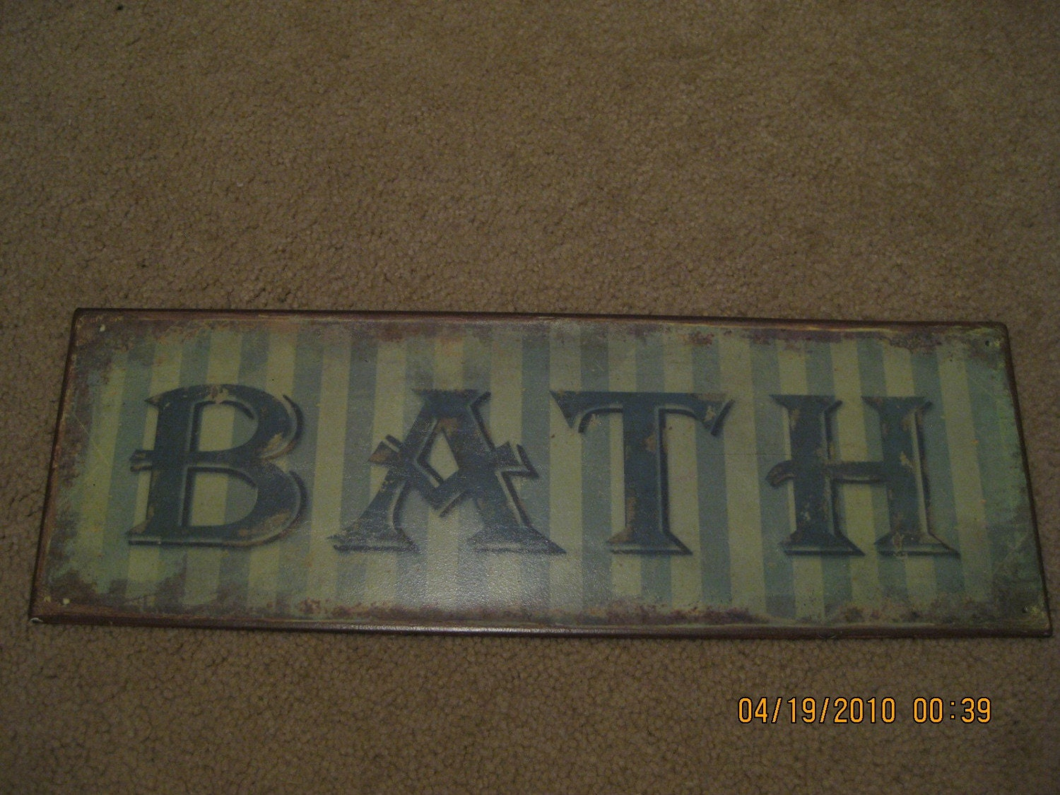 Vintage Rustic Metal Tin Blue Bath Sign 5 Inches By 15 Inches