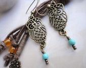 Owl and Turquoise Earrings