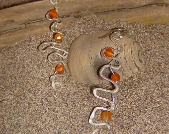 Burst Of Light -  Hammered Silver Pathway Earrings with Carnelian Beads