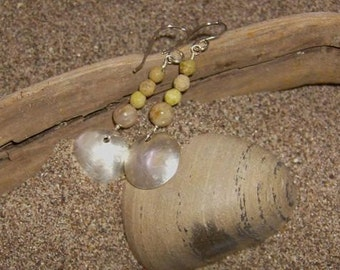 Water Vibe - Hammered Silver Bowl Earrings With Fossil Coral & Serpentine Beads